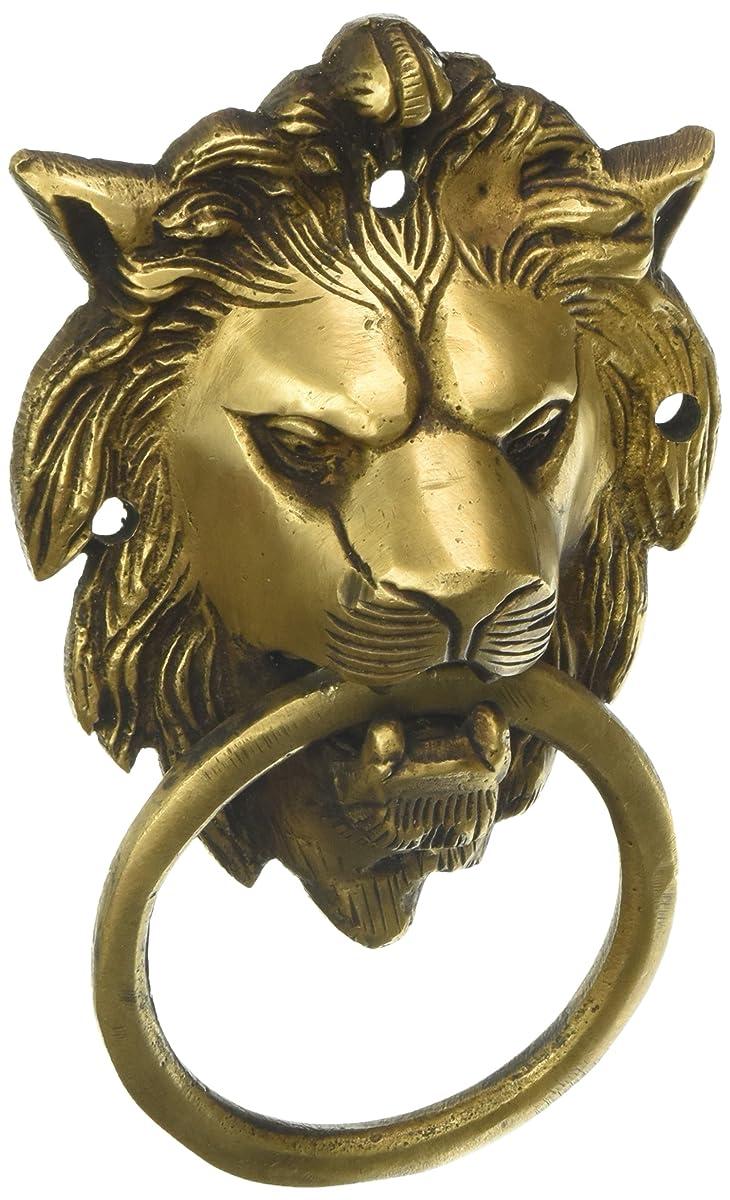 MP Crafts Brass Hand Carved Lion Head Door Knocker Antique Look for Home Door, Shop Door, Decorative, and Gift
