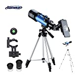 Aomekie Kids Telescope for Adults Astronomy Beginners 70mm Refractor Telescopes with Adjustable 51inch Tripod Phone Adapter Finderscope Erect-Image Diagonal and Moon Filter (Color: 70/400)