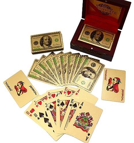 Jeu de 24K plaqué Aluminium Doré Poker cartes à jouer en plastique avec boîte en bois en acajou avec certificat d'authenticité Double face couleur Imprimé rendu Etching 100$ Benjamin Franklin Logo Desig