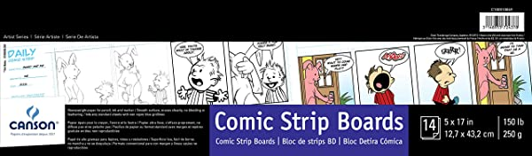 Canson Comic Strip Boards Pad with Preprinted, Non-Reproducible, Blue Lines, 150 Pound, 5 x 17 Inch, 14 Sheets (Tamaño: 5 x 17)