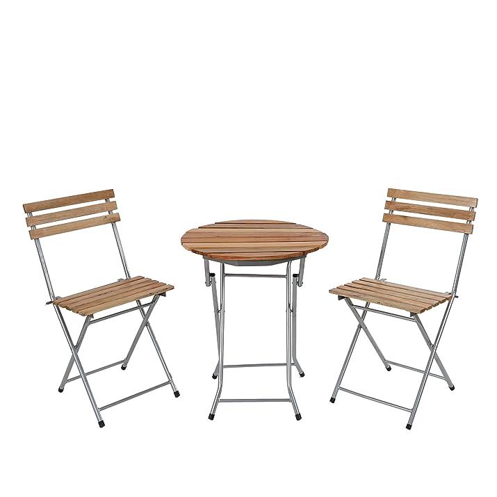 Set tavolo con 2x sedie Garmisch ideale giardino terrazza pieghevole ~ legno chiaro