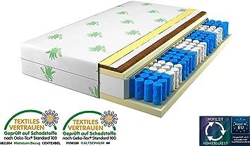 Matratze 180x200 9-Zonen Härtegrad H2 H3 (Weiß), Kokos, Rollmatratze, Bezug waschbar, 360 Grad Reißverschluss (180x200cm Höhe 24 CM)
