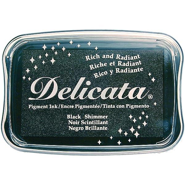 Tsukineko Delicata Black Shimmer Metallic Pigment Inkpad, (Color: Black Shimmer, Tamaño: Original Version)