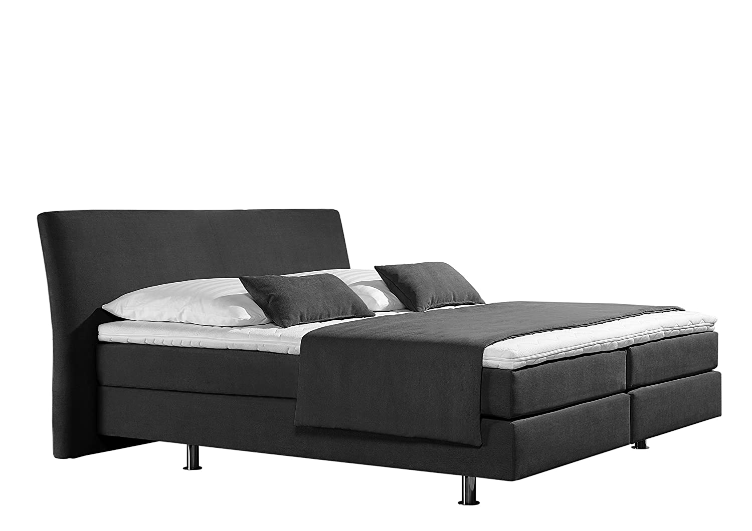 Maintal Betten 237372-4174 Box springbett Club 160 x 200 cm, Strukturstoff anthrazit