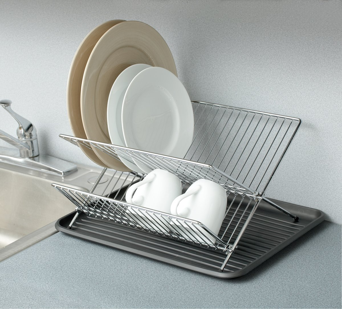 pro mart dazz chrome folding dish drainer with plastic drain board new free s ebay. Black Bedroom Furniture Sets. Home Design Ideas