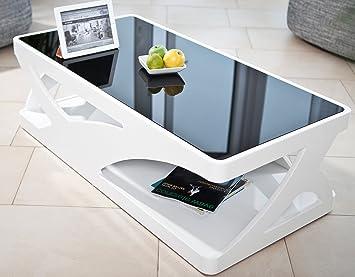 Couch-Tisch weiß Hochglanz aus MDF und Glas 120x60cm recht-eckig | Aventur | Schlichter Wohnzimmer-Tisch in angesagter Hochglanz Lackierung in weiss mit schwarzer Glasplatte 120cm x 60cm
