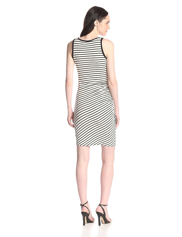 Asymmetric Shirred Tank Dress In Stripes