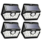 Mpow Solar Lights Outdoor, Bright 20 LED Motion Activated Lights with Wide Angle Lighting, IP65 Waterproof Wireless Security Lights for Garage Front Door Garden Pathway - 4 Pack (Auto On/Off) (Color: Black)