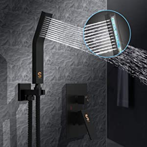 SR SUN RISE Matte Black Shower System 12 Inch Brass Bathroom Luxury Rain Mixer Shower Combo Set Wall Mounted Rainfall Shower Head System Shower Faucet Rough-in Valve Body and Trim Included (Color: Matte Black, Tamaño: 12 Inch)