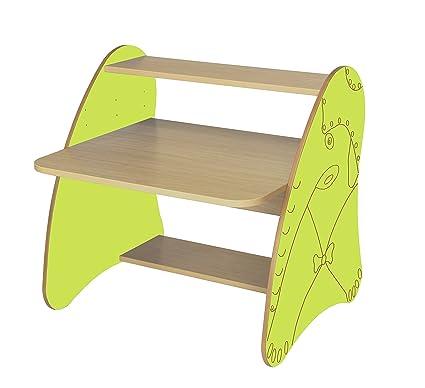 Mobeduc 600912HR13 - Mesa de ordenador infantil/primaria, madera, color haya y verde manzana, 80 x 75 x 80 cm