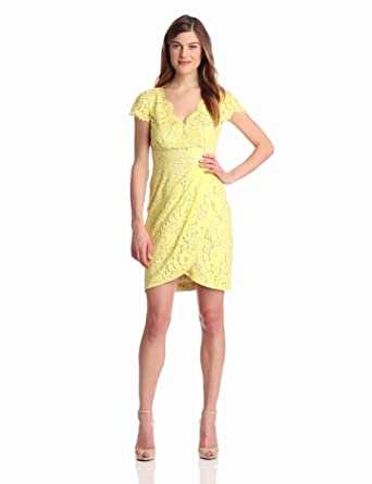Eliza J Women's Cap Sleeve V-Neck Dress, Yellow, 14