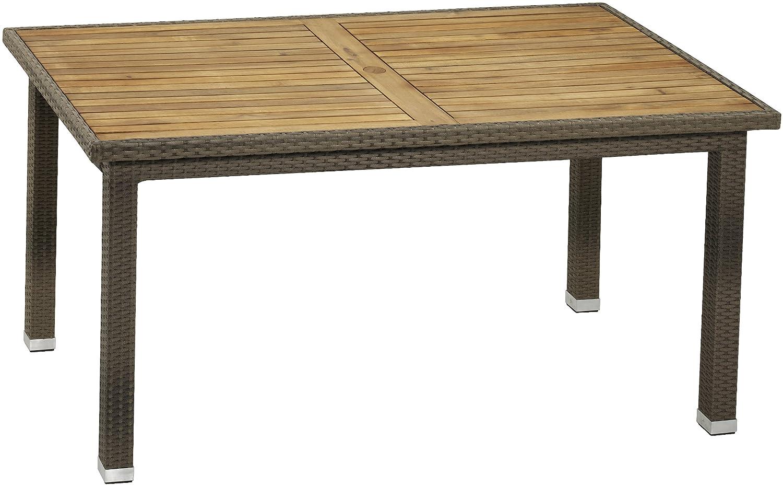 Gartenfreude Tisch Polyrattan, Aluminiumgestell mit Akazienholz, Cappuccino, 160 x 90 x 75 cm (LxBxH)