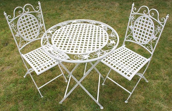 Maribelle - set di tavolo rotondo pieghevole e due sedie quadrate per esterni - motivo floreale - in metallo - bianco