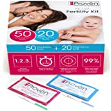 Ovulation Test Strips and Pregnancy Test Kit - 50 LH and 20 Hcg - OPK Ovulation Predictor Kit iProven FK-127 (50 LH & 20 Hcg) (Tamaño: 0.14