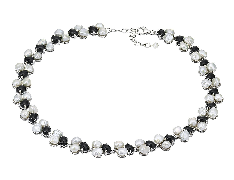 Pearl Dreams Damen-Halskette ohne Anhänger 925 Sterling Silber Süßwasser Zuchtperlen mit Onyx oval 3993/6 online kaufen