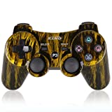 PS3 Controller Wireless PS3 Games Remote - KLNO Sixaxis Dualshock Gamepad,Best Gifts for Kids,Son,Father in Family Playing with USB Charger Cable,for SONY original Playstation 3(Brassiness)