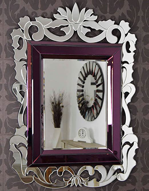 Large French Baroque Purple Venetian Wall Mirror 4Ft5 X 3Ft3 (135cm X 99cm) New