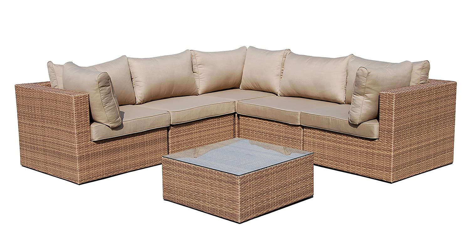 Sofa lounge set 6 tlg gartensitzgruppe braun outdoor for Lounge set rattan gunstig