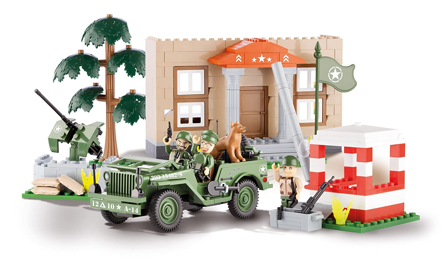 COBI 24302 – Jeep Willys MB Barracks with Checkpoint – 300 Bausteine als Geschenk