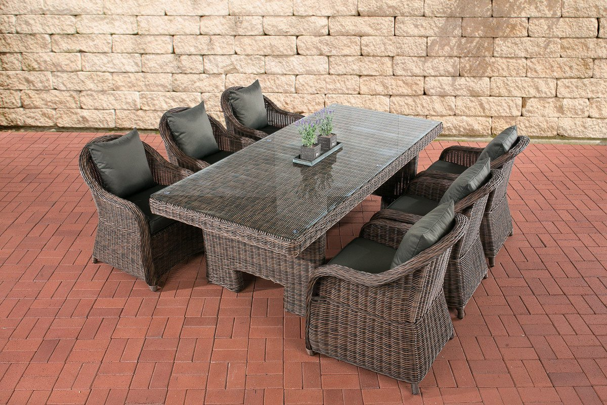 CLP Polyrattan Sitzgruppe CANDELA braun-meliert, 6 Sessel inkl. Polster + Tisch 220 x 100 cm, 5mm Rundrattan braun-meliert, Bezugfarbe anthrazit