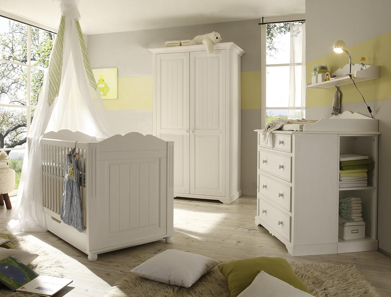 """Firstloft 501-0200 Babyzimmer-Set """"Cinderella Premium"""" , bestehend aus 2-türigem Kleiderschrank 102-0200, Babybett 410-5500, Kommode 107-1600 und Wickelaufsatz 121-5000, Kiefer, teilmassiv, weiß kaufen"""