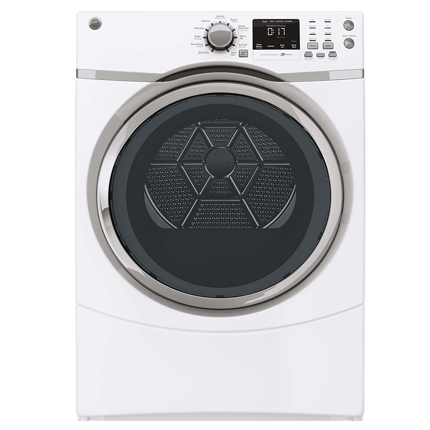 GE GFDS170GHWW 7.5 Cu. Ft. White With Steam Cycle Gas Dryer