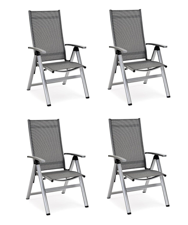 """4 x Landmann Luxus Klappsessel """"Emmelina"""", silber grau-schwarz, Belardo günstig online kaufen"""