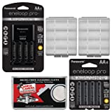 Panasonic eneloop Pro (4) AA 2550mAh Pre-Charged NiMH Rechargeable Batteries & Charger + (4) Extra AA Batteries + (2) Battery Cases + Kit