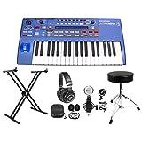 Novation UltraNova 37-Key USB MIDI Keyboard Synth+Headphones+Stand+Throne+Mic (Color: Black-81, Tamaño: [NEWEST 2018] Bluetooth Headphones85)