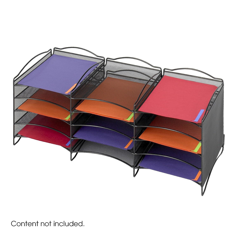Safco Products Onyx Mesh Literature Organizer, 12 Compartment, Black, 9430BL