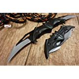 NEW! Batman Dark Knight Bat Spring Assisted Open Folding Double Blade Dual Twin 3 Colors Pocket Knife Tactical Belt Clip Black Gold Rainbow Knives Great Gift (Black) (Color: Black)