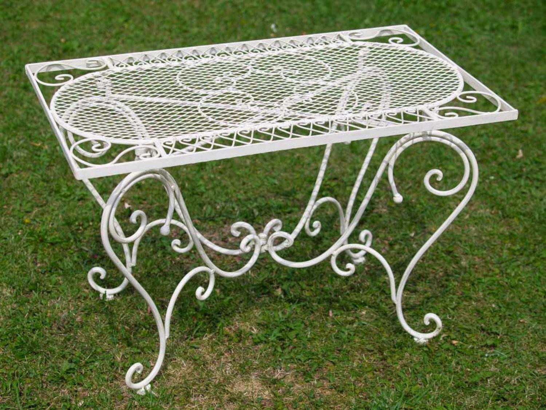 Nostalgie Gartentisch Schmiedeeisen 12 kg Tisch Loungetisch antik Stil weiß iron günstig bestellen