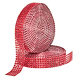 Mandala Crafts Faux Diamond Bling Wrap, Faux Rhinestone Crystal Mesh Ribbon Roll for Wedding, Party, Centerpiece, Cake, Vase Sparkling Decoration (1 Inch 5 Rows 20 Yards 2 Rolls, Red) (Color: Red, Tamaño: 1 Inch 5 Rows 20 Yards 2 Rolls)