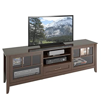 """CorLiving Carlisle Extra Wide TV Bench for TVs, Up to 80"""", Espresso Brown"""