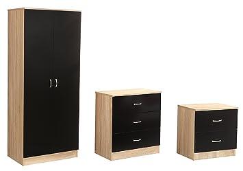 Sen Furniture Kanya Trio Set, Black/Oak Brown