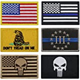 Bundle 6 pieces Full Color USA American Thin Blue Line Police Flag Three Percenter Tactical Don't Tread On Me Fully Embroidered Morale Tags Patch (Color: B)