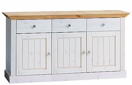 Steens Furniture 3170250288001F Anrichte, gebeiztes Top, 78 x 145 x 46.5 cm Kiefer massiv, weiß lasiert