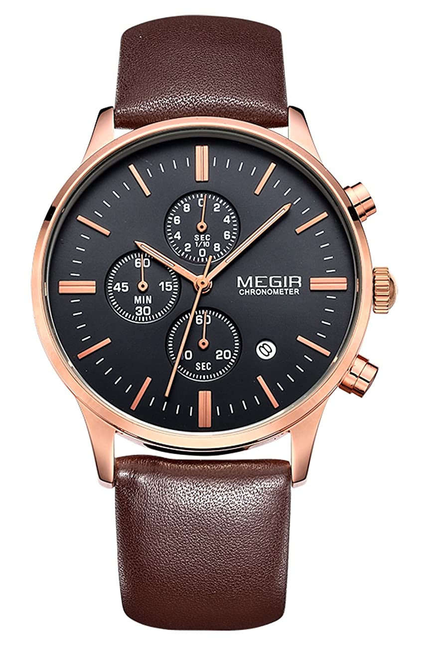 Megir Mens Vintage Chronograph Luminous Brown Leather Quartz Wrist Watches 0