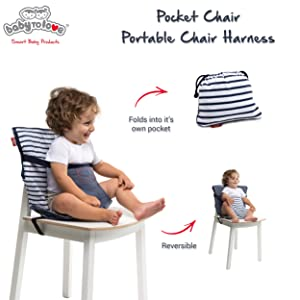 Baby-To-Love Pocket Chair Portable High-Chair for Travel Toddler Denim Edition