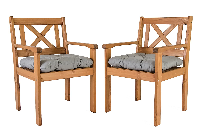 Ambientehome Garten Sessel Stuhl Massivholz inkl. Kissen EVJE, braun, 2-teiliges Set online kaufen