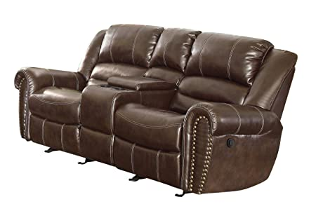 Homelegance 9668BRW-2PW Power Reclining  Bonded Leather Traditional  Love Seat with Accentuated Nail Headed Arm Rest, Brown
