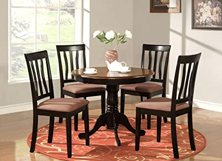East West Furniture ANTI3-BLK-C 3-Piece Kitchen Table Set, Black/Cherry Finish