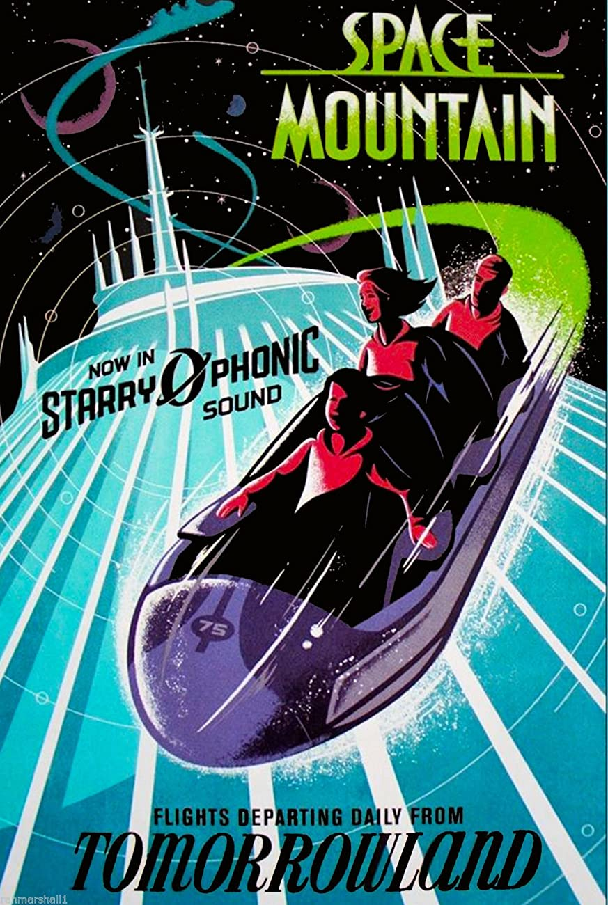 Disneyland Anaheim Disney Tomorrowland Space Mountain - Dark California United States of America Vintage Travel Advertisement Art Poster. Poster measures 10 x 13.5 inches 0