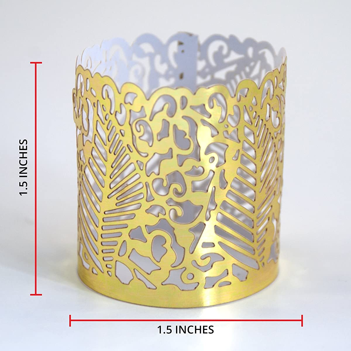 FLAMELESS TEA LIGHT VOTIVE WRAPS- 48 Gold colored laser cut decorative wraps for Frux Home and Yard Flickering LED Battery Tealight Candles (not included)