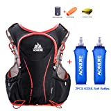 Lovtour Hydration Pack/with 2 Soft Water Bottles Bladder Hydration Backpack Vest for Marathoner Running Race Cycling Hiking Camping Biking (Color: Black (L-XL) - with 2 Soft Water Bottles)