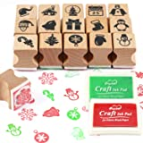 HOWAF Wooden Christmas Stamps Set with Ink Pad for Crafting Card Making, Christmas Stamps Pack for Children Xmas DIY Painting Scrapbooks Christmas Party Bag Fillers Favor Decoration Supplies