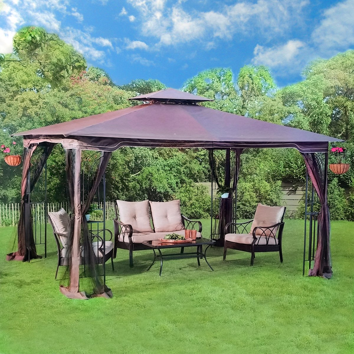 Outdoor garden gazebo pergola patio furniture metal frame for Outdoor furniture gazebo