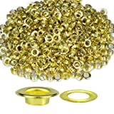 Trimming Shop 1000 Eyelets & Washers For Banners Vinyl Arts And Crafts Grommets For Adding Ribbons Lacing Straps And Other Fabric Art 10mm Gold