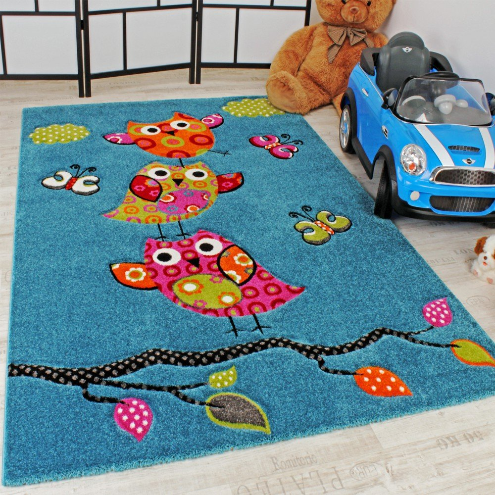 Kids Carpet Cute Owls Modern Children Rug in Blue Turquoise Orange Cream Green, Size 160x230 cm       reviews and more information