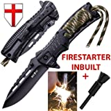 Pocket Knife - Tactical Folding Knife - Spring Assisted Knife with Fire Starter & Paracord Handle - Best EDC Survival Hiking Camping Knife for Army Mi